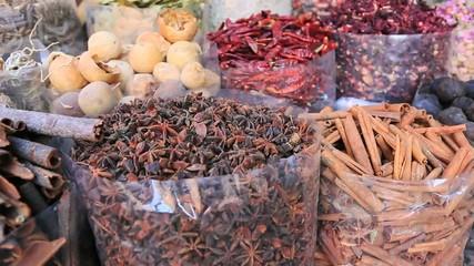 Locked-on shot of spice market in Dubai, United Arab Emirates