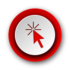 click here red modern web icon on white background