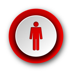 male red modern web icon on white background