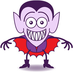 Halloween Dracula feeling embarrassed and grinning