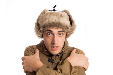 frozen man with its eskimo hat, isolated on white