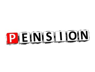 3D Word Pension on white background