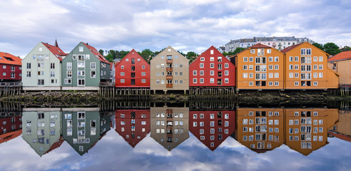 Summer panorama landscape of Trondheim city architecture