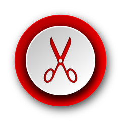 scissors red modern web icon on white background