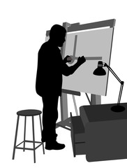 architect working on blueprint silhouette - vector