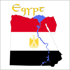 Landkarte von Ägypten in Landesfarben