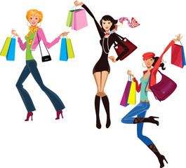 happy women with shopping bags