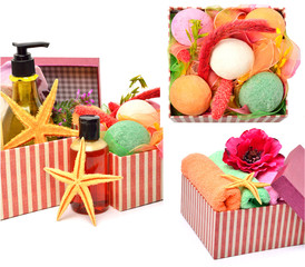 Gel bottles, bath bomnbs with starfishes in gift boxes