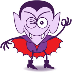 Halloween Dracula winking and making an OK sign