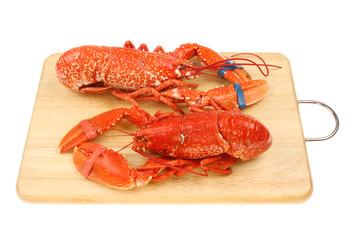 Lobsters on a board