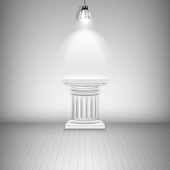 Illuminated Blank Pedestal In Gallery.