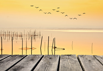 suave amanecer en el lago tranquilo