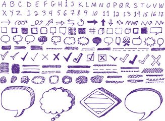 Set of hand-drawn isolated highlighter elements