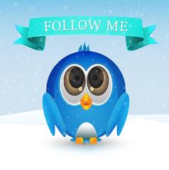 Follow me bird on snow