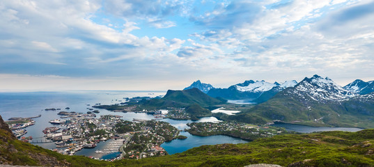 Sunset aerial panoramic view on mountains and Svolvaer in