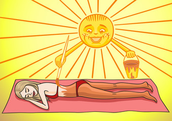 Sunbathing girl.