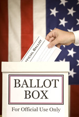 Ballot Box With Hand Voting Vertical