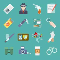 Detective icons set
