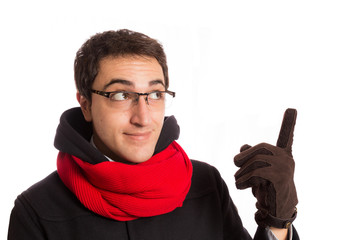 portrait of  happy young man with montgomery and red scarf,  iso