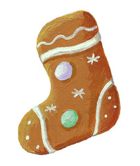 Gingerbread christmas cookie boot shaped