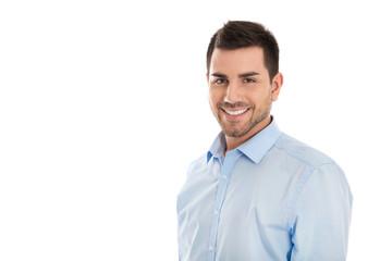 Erfolgreicher junger lachender Geschäftsmann isoliert in Blau