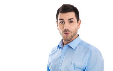 Business Mann erstaunt und überrascht isoliert in Hemd blau