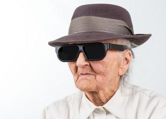old lady in elegant hat