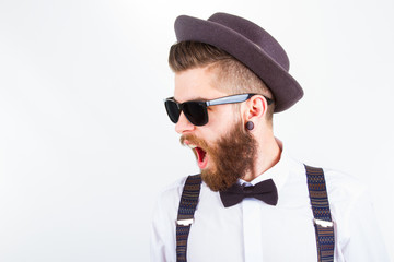 hipster with hat  making funny faces