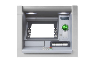 Silver isolated ATM with blank screen