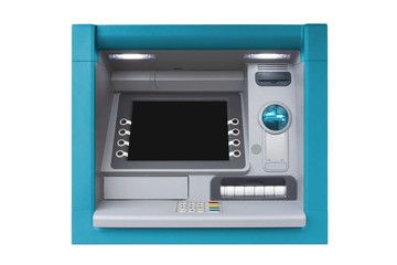 Blue isolated ATM with blank screen