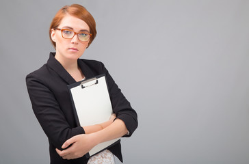 businesswoman with white sheet of paper