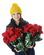 Teen Bringing Christmas Poinsettias