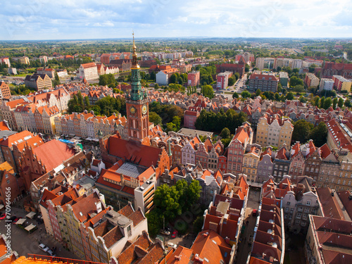 Gdansk Old Town aerial view