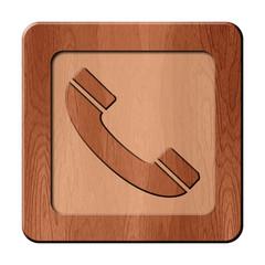 Bois en relief : téléphone