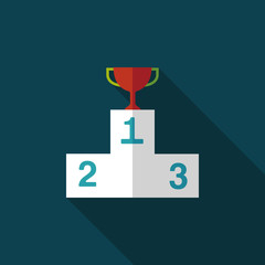 trophy cup flat icon with long shadow,eps10