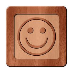 Bois en relief : sourire
