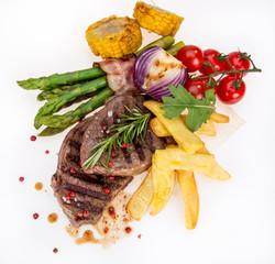 Beef steak on white background