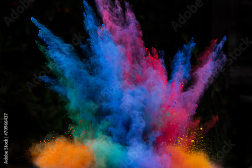 canvas print picture launched colorful powder over black