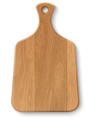 Realistic wooden cutting board, isolated on white