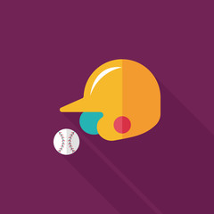 baseball helmet flat icon with long shadow,eps10