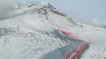 Etna lava flow at the base of Southeast Crater - January 2014