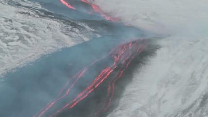 detail lava flow on the snow