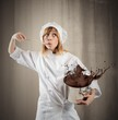 canvas print picture - Chef with chocolate