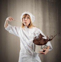 Chef with chocolate