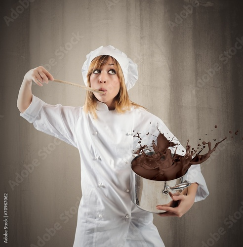 canvas print picture Chef with chocolate