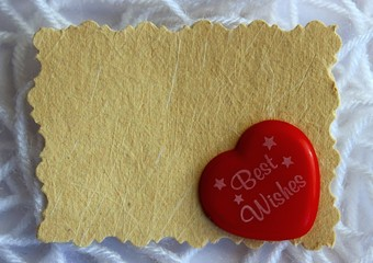 Blank Message Note Card Against Wool Yarn