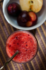 Healthy apple and plum smoothie