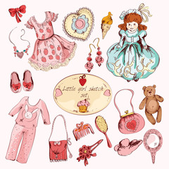 Little girl accessories colored items set