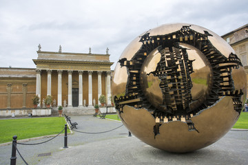 Sphere within sphere in Courtyard of the Pinecone at Vatican Mus