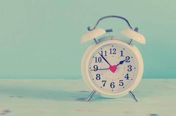 Retro vintage style classic white alarm clock